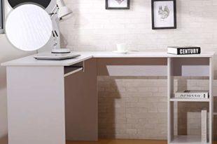 41xJTa+cPSL 310x205 - MIADOMODO Computertisch - L-Form, 135x115x74cm, ausfahrbare Tastaturablage, Weiß und Schwarz - Winkelschreibtisch, Eckschreibtisch, Bürotisch, Arbeitstisch, Laptop PC Studie Tisch