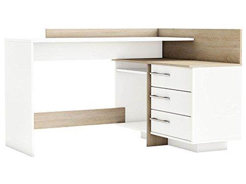"""Eckschreibtisch Schreibtisch Arbeitstisch Bürotisch Computertisch Tisch """"Thales"""" (weiß mit Absatz Sonoma/Eiche)"""