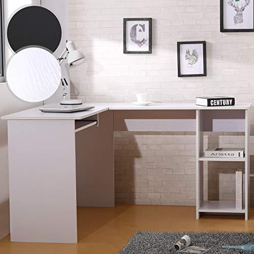 MIADOMODO Computertisch - L-Form, 135x115x74cm, ausfahrbare Tastaturablage, Weiß und Schwarz - Winkelschreibtisch, Eckschreibtisch, Bürotisch, Arbeitstisch, Laptop PC Studie Tisch