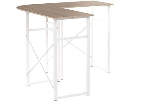 WOLTU® Schreibtisch TSG24hei L-Form Eckschreibtisch Winkelschreibtisch Computertisch Bürotisch Arbeitstisch, aus Holz und Stahl, 83x40x72,5 & 63x40x72,5cm(BxTxH), Holz, Eiche